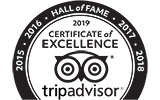 TripAdvisor Hall of Fame - receiving Certificate of Excellence 5 years in a row!